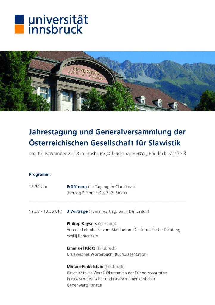 Generalversammlung der Österreichischen Gesellschaft für Slawistik 2018